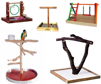 Perch Factory Wood Table Top Bird Stand Perches Play Gyms